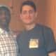 Luis Lizarzaburu, right, with former Olympic track star Mark Everett at the NCAA Leadership Forum.