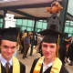 Andrew Baron, left, and Marc Grasso, added some style to their mortarboards.