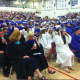 Graduates and special guests wait for the Wilton High School graduation ceremonies to begin.