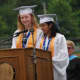 Valedictorian Emma Manos and Salutatorian Sonya Chandy address their classmates at the graduation ceremony.