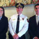 New Canaan Police Department Chief Leon Krolikowski with new police officers Kelly Coughlin and William Sheehan.