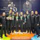 Team USA Squash L-R: Gilly Lane, Chris Gordon, Chris Hanson, Amanda Sobhy, Natalie Grainger, Olivia Blatchford, Todd Harrity, Paul Assaiante, and Rich Wade.