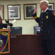 Mayor David Martin swears in Tom Wuennemann as the new Assistant Chief of the Stamford Police Department on Wednesday.