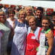 The Rev. Damian Pielesz, in back, pictured with volunteers at the annual Polish Harvest Festival at Holy Name of Jesus Church in Stamford.