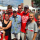 Family members at the Polish Harvest Festival, in front from left, are Grace Riznyk, 3, her mother Katie, Bruce Riznyk Sr., Bruce Riznyk, Saffron Przyborowski and Amy Coll. In back from left are Jared Przyborowski and Eric Riznyk.