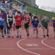 Youth runners get ready to start a relay at the 12th annual Jim Keller Middle School Track & Field Relay Championships at New Fairfield High School, in New Fairfield.