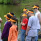 The Mayor's Youth Group join together to clean up the pond in Saddle Brook Park in June.