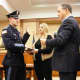 New Ridgewood police officers McAlister, Kyle Monton and Peter Tuchol, Jr. were sworn in during a recent Ridgewood Village Council meeting.