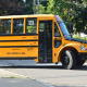 Bus 57 is the first to arrive at South Street School on Monday.