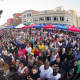 Crowds pack Columbus Park in downtown Stamford during one of its summer concerts.