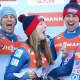 Tucker West, left, of Ridgefield celebrates with teammates Erin Hamlin, Matt Mortensen and Jayson Terdiman after winning a silver medal in the team relay at the Luge World Championships in Austria on Sunday.