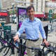 New Rochelle Mayor Noam Bramson on the first day of the bike share.