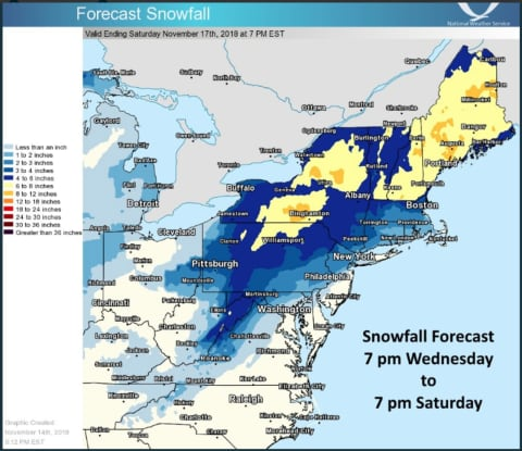 Projected Snowfall Totals Increase As Noreaster Roars Into Area