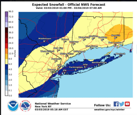 Winter Storm Warning Projected Snowfall Totals Increase For Major