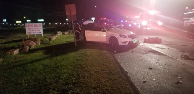 Three people were injured during a two-vehicle crash.