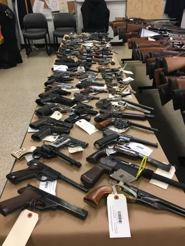 Handguns from a recent area police gun buyback event.