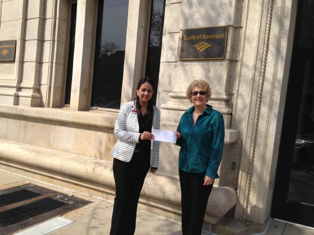 Bank of America of Greenwich presents a sponsorship check to the Greenwich Tree Conservancy for its annual Tree Party Celebration, which will be Friday, April 29, from 6:30-8:30 p.m. at McArdles Florist and Garden Center on 48 Arch St.
