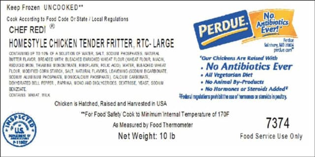The label of the Perdue chicken product that was recalled.