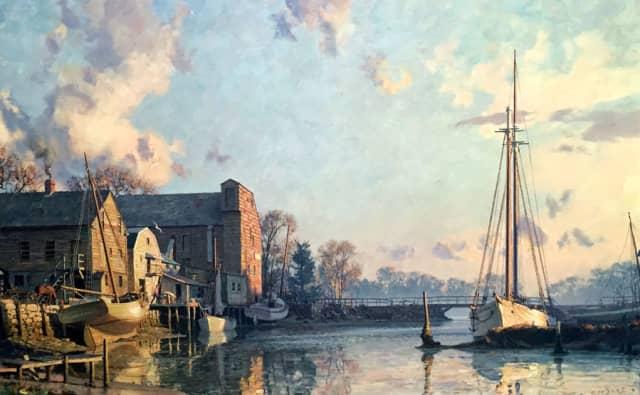 """John Stobart's """"The Lower Landing""""  (1895), oil. Courtesy J. Russell Jinishian Gallery."""
