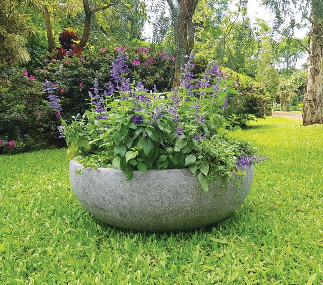 New designs from Munder-Skiles include, from left, the Nest Planter and the Mills Planter, which is shown with the Xylo Bench. Photographs courtesy Munder-Skiles.