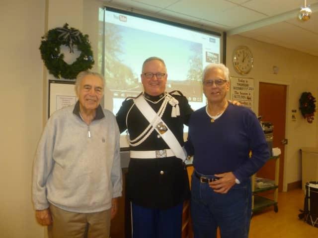 Sgt. Major Eric Sheffler spoke to senior citizens in Rockleigh.