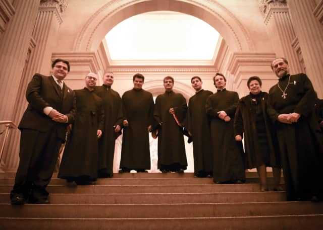 The Axion Estin Foundation's chanters before a Byzantine Pop-Up performance at The Metropolitan Museum of Art. Photograph by Christopher Alexander Fiore.