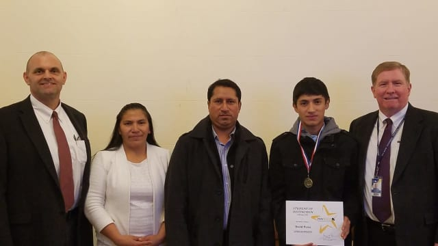 David Perez (second from right) was honored as a BOCES Student of Distinction.