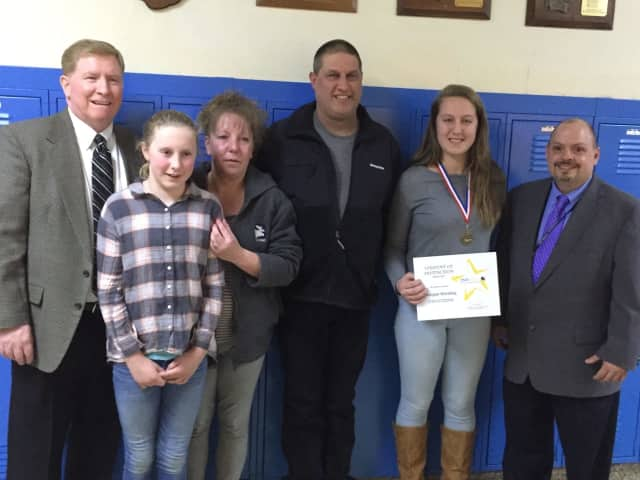 Morgan Hotaling was honored as a student of excellence by BOCES