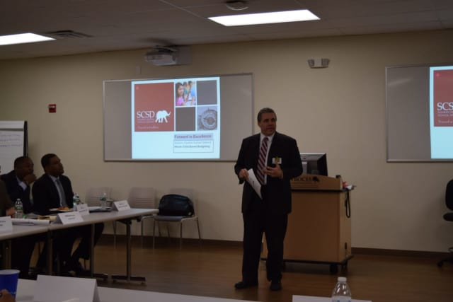 Somers Schools Superintendent Ray Blanch speaks at a talk hosted by Putnam/Northern Westchester BOCES.