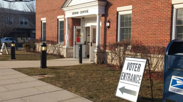 A polling station at Hasbrouck Heights Senior Center.