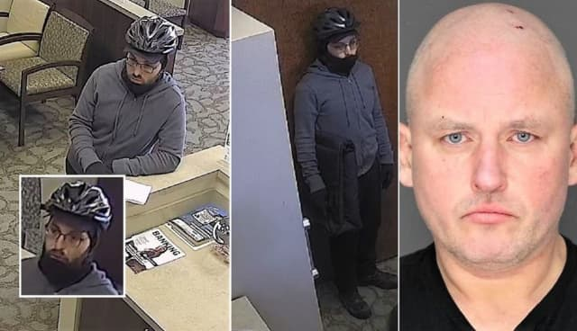 Surveillance images of the bank robber at the Oritani Branch on Kinderkamack Road in Park Ridge. Parks is at right.