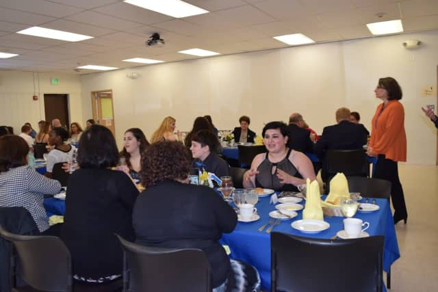 Mahopac High School's Ashley Sherman, far right, enjoys the Senior Culinary Luncheon at the Tech Center at Putnam | Northern Westchester BOCES Thursday. Sherman was one of two students chosen to speak at the event.
