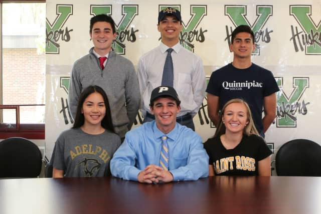 Six Yorktown High School seniors have signed letters of intent to play college sports. From left, front row, are: Jayla Masci, Richie Giannasca, Macey Drezek; from left, top row, are: Nick DiGuglielmo, Christian Torres and Mauricio Arango.