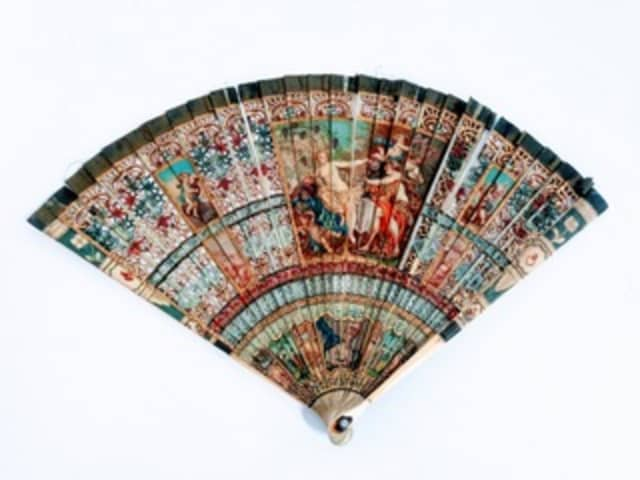 This antique French hand-painted fan will be offered in the Benefit Shop Foundation's auction Wednesday, June 13.