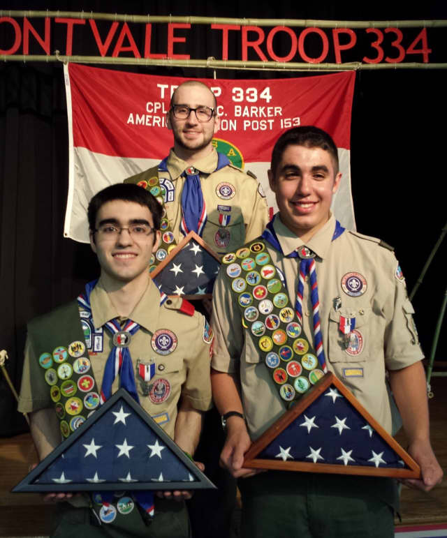 Montvale Eagle Scouts, from the left, Gregory Diogo Almeida, Jacob Arnak Waldron, and Michael Benjamin Sawitz.