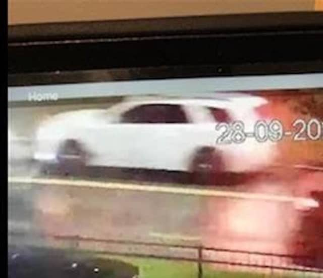 The white Dodge Durango that was involved in the hit-and-run in Rockville Centre.