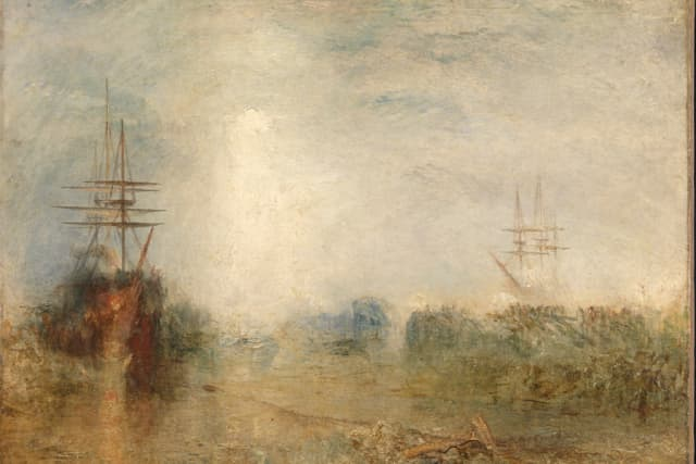 """J.M.W. Turner's """"Whalers (Boiling Blubber) Entangled in Flaw Ice, Endeavouring to Extricate Themselves,"""" watercolor.  Images © Tate, London 2018. Reprinted with permission of the Mystic Seaport Museum."""