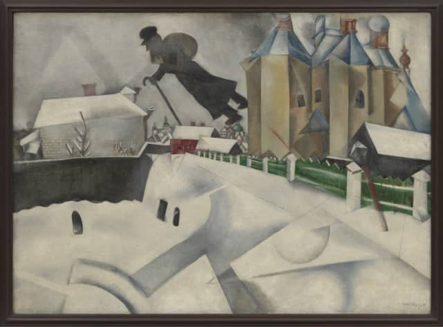 "Marc Chagall, ""Over Vitebsk, 1915-20,"" after a 1914 painting, oil on canvas. Museum of Modern Art, New York, acquired through the Lillie P. Bliss Bequest (by exchange), 1949. Artwork © Artists Rights Society (ARS), New York / ADAGP, Paris; image provided by The Museum of Modern Art / licensed by SCALA / Art Resource, New York. Courtesy the Jewish Museum."
