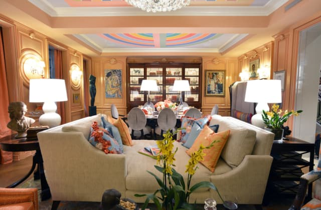 """Barbara Ostrom, a designer with offices in Manhattan, the Hamptons and Mahwah, New Jersey, created """"Art and A La Carte,"""" a sweepingly bold library/dining room, for the 46th annual Kips Bay Decorator Show House in Manhattan. Photograph by Bob Rozycki."""