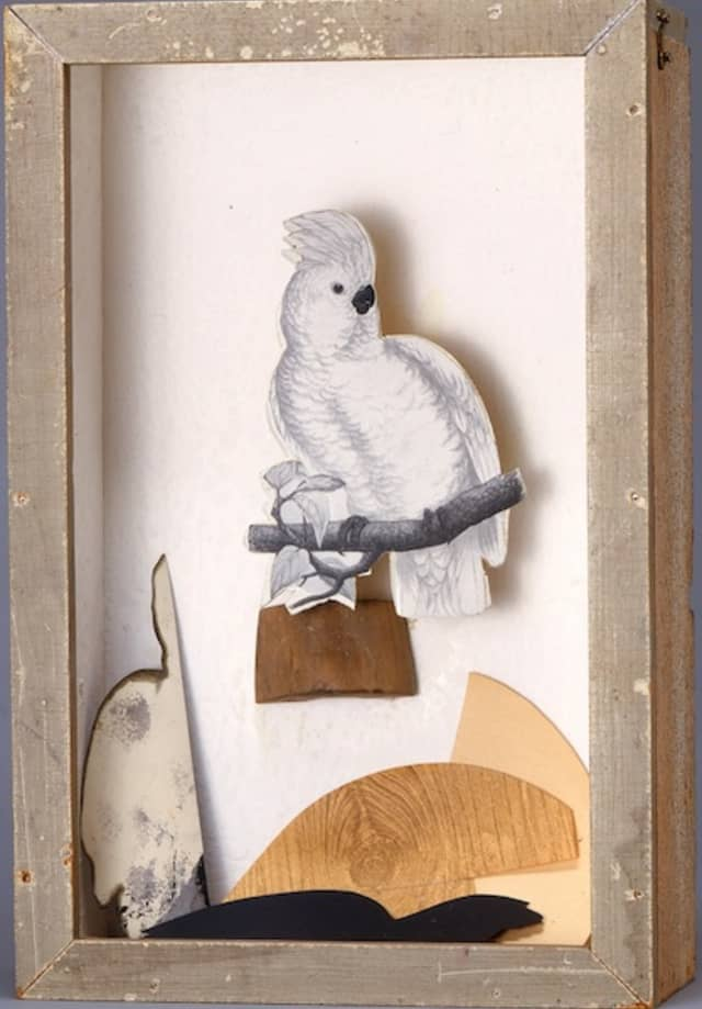 """Joseph Cornell (American, 1903–1972). """"Untitled (Juan Gris Series),"""" ca. 1958. Mixed media: wood: stained/painted, glass, paper 17 1/4 × 11 1/8 × 4 7/8 in. (43.8 × 28.3 × 12.4 cm). Smithsonian American Art Museum, Gift of The Joseph and Robert Cornell Memorial Foundation, 1985.64.74. © The Joseph and Robert Cornell Memorial Foundation/Licensed by VAGA, New York, NY. Courtesy The Metropolitan Museum of Art."""
