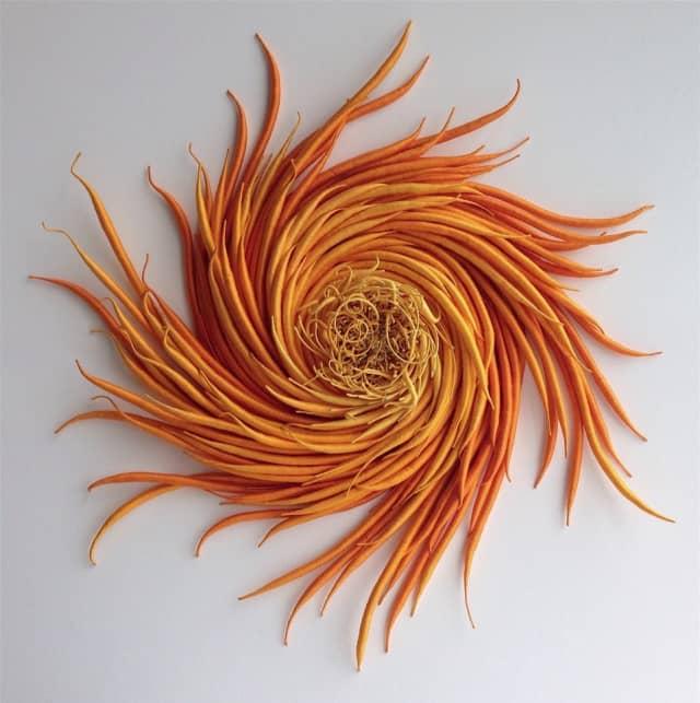 "Catherine Latson, ""Specimen 5,"" 2017, hand-dyed cotton thread, cotton, wire, 34 x 34 x 4 inches. Catherine Latson photograph. Courtesy Kenise Barnes Fine Art."