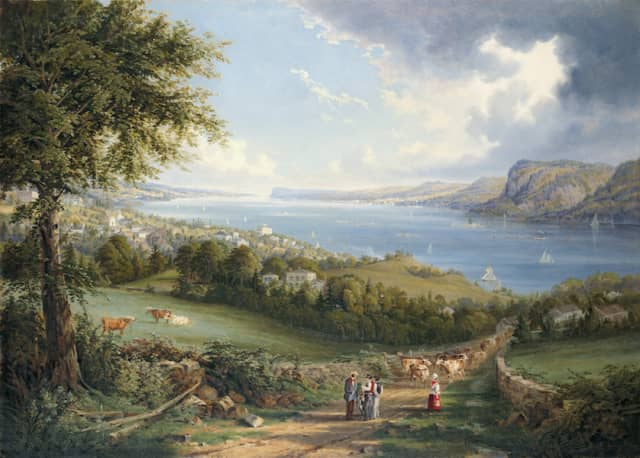 """Robert Havell Jr. (1793–1878), """"View of Hudson River from near Sing Sing, New York,"""" ca. 1850. Oil on canvas. New-York Historical Society, Purchase, Watson Fund, 1971.14. Courtesy New-York Historical Society Museum & Library."""