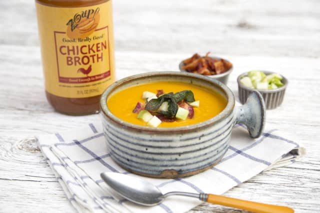 Use Zoup! Good, Really Good broth to make Winter Squash Soup with Apple, Smoky Bacon and Sage. Courtesy Zoup! Fresh Soup Company.
