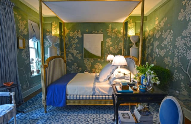 "Inspired by ""Sleeping Beauty,"" Mark D. Sikes Interiors created this ""boudoir fit for a princess"" – complete with a custom handpainted Gracie scene – for the 46th annual Kips Bay Decorator Show House in Manhattan. Photograph by Bob Rozycki."