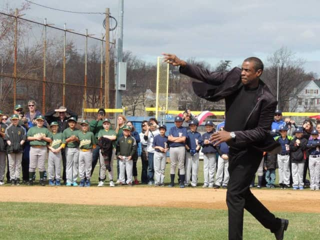 Doc Gooden throwing out the first pitch at a North Arlington Little League baseball game.