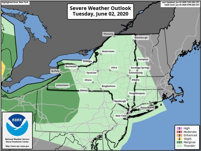 A look at the severe weather outlook for Tuesday, June 2.