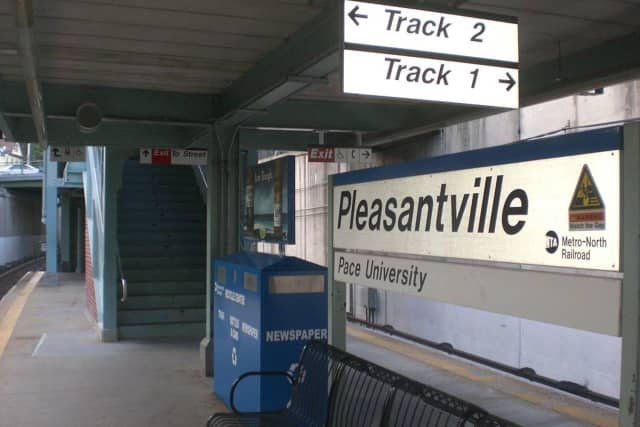 A brush fire occurred at the Pleasantville train station.