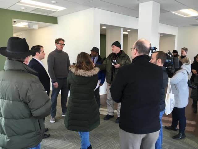 Chief Medical Officer Dr. Stephen Dahmer gives the media a preview of Vireo Health of New York's White Plains dispensary before it officially opened in January.