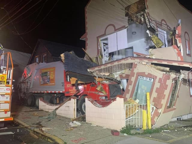 Garbage truck slams into North Bergen homes.