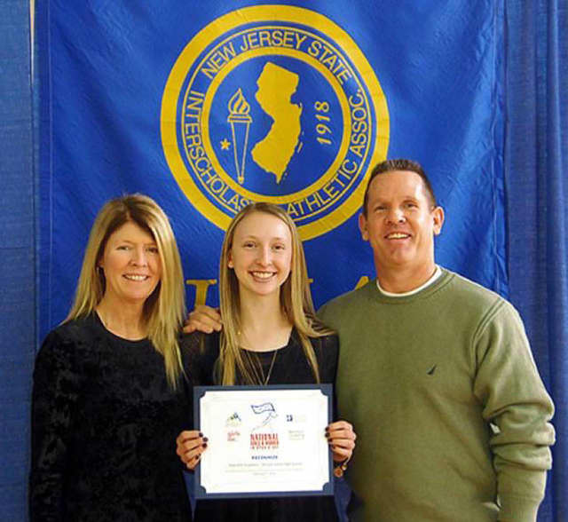 Wayne Valley student Gabrielle Goodwin, center, with parents Maryann and Scott Goodwin.